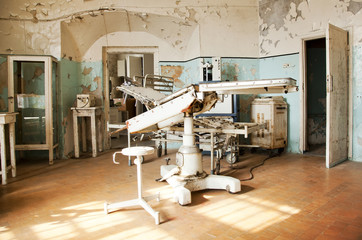 Old abandoned surgical room and chair
