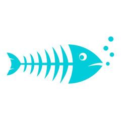 Blue skinny fish vector icon