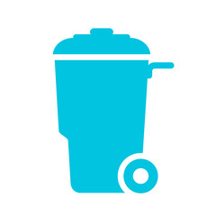 Wheelie trash can vector icon