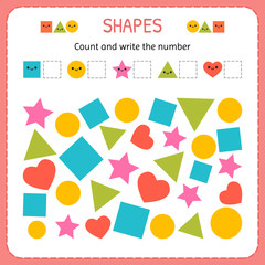 Count and write the number. Learn shapes and geometric figures. Preschool or kindergarten worksheet