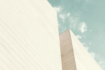 Abstract architecture. Close up of a white building facade.