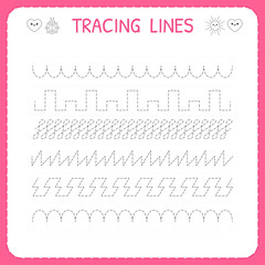 Trace line worksheet for kids. Trace the pattern. Working pages for children. Preschool or kindergarten worksheet. Basic writing