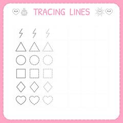 Trace line worksheet for kids. Working pages for children. Preschool or kindergarten worksheet. Basic writing. Trace the pattern
