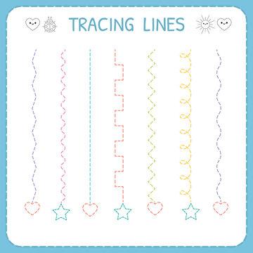 Trace line worksheet for kids. Working pages for children. Preschool or kindergarten worksheet. Basic writing