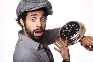 Afro man with a clock