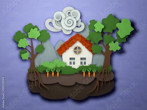 Papercut Small House Postcard Paper Craft Landscape Cutout Cabin