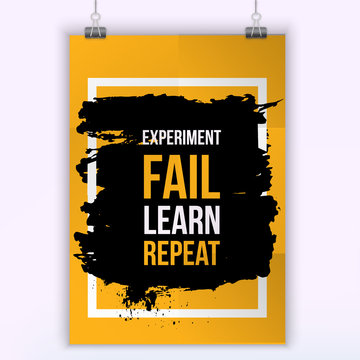 Slogan Fail Learn Pepeat. Vector Typography Banner Design Concept On Grunge Background