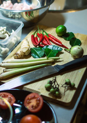 Ingredients for cooking thai soup. Vegetables on the table. Famous asian food.