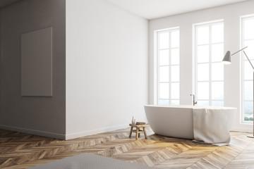 Minimalistic white bathroom corner, poster
