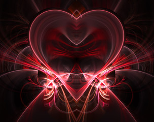 Burning and beating heart. Valentine's day background. Greeting card