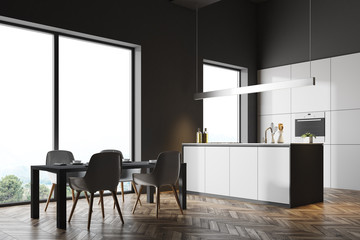 Dark gray kitchen corner, gray table