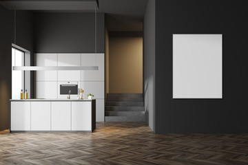 Dark gray kitchen interior, poster