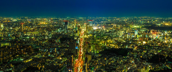 Tokyo Skyline panorama at blue hour. Roppongi Hills, Minato District, Tokyo, Japan. Aerial view of cityscape.