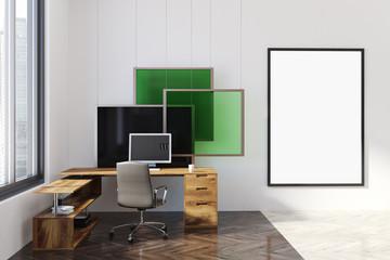 Modern office, poster, art installation green