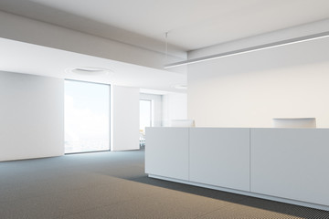 Company office reception table, side view