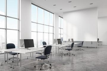 Concrete floor open space office corner