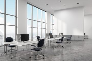 White panoramic office corner, screen