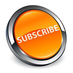 Subscribe 3d orange round button