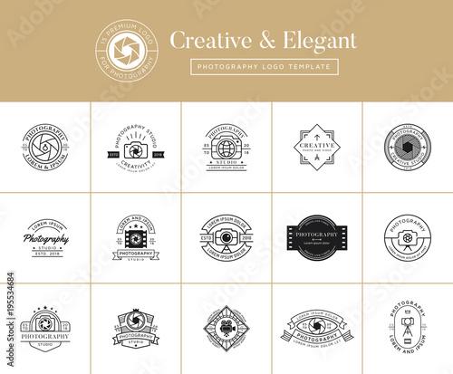 Set of premium photography emblems, badges, labels, logo designs ...