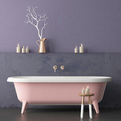 Mock up bathroom in vintage style. Trend color. 3d.