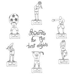 sports awards, various sports, vector image, set of players icons,doodle style