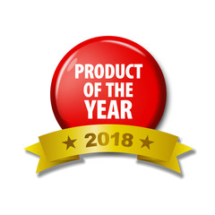 Bright red button with words 'Product of the year 2018'