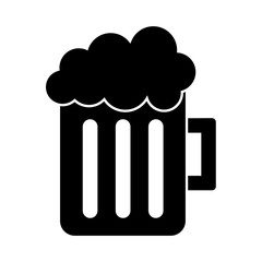 glass beer mug foamy drink alcohol vector illustration black and white image