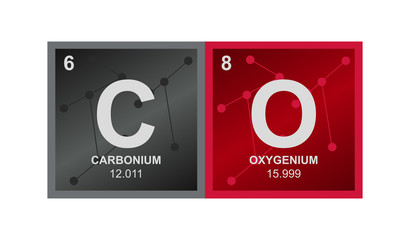 Vector symbol of carbon monoxide  which consists of carbon and oxygen on the background from connected molecules