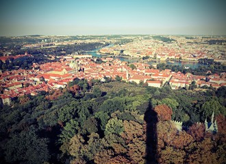 Prague City in Czech Republic in Europe and shadow of an high tower