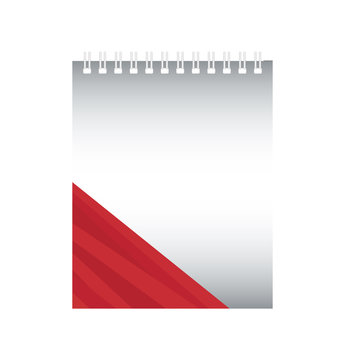 notepad with red stripes design over white background vector illustration