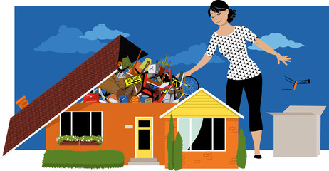 Woman decluttering, throwing away things from a house, overflown by stuff, EPS 8 vector illustration