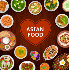 Asian food. National dishes on a wooden background. Indian and Philippine cuisine. Vector flat illustration.