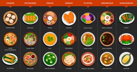 Big set of asian food. Vietnamese, Korean, Indonesian, Indian, Chinese, Filipino, Singaporean cuisine. Various food dishes. Vector flat illustration.