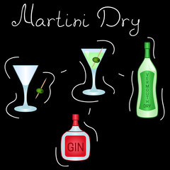 Martini Dry Cocktail ingredients isolated vector colorful illustration