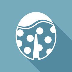 Ladybug icon. White flat icon with long shadow on background