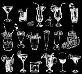 Set of hand drawn sketch style alcoholic and soft drinks. Isolated vector illustration.