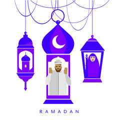 Ramadan Lanterns With Mosque, Man and Woman