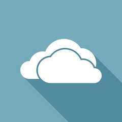 cloudy weather icon. White flat icon with long shadow on background