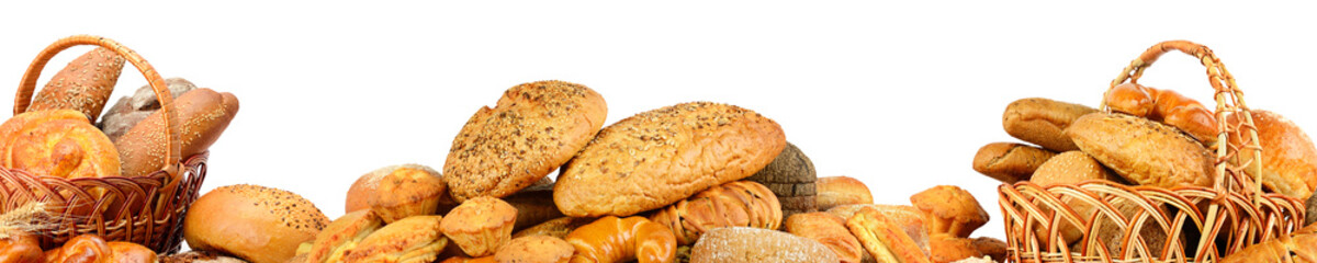 Wide collage freshly baked bread items isolated on white