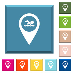 Swimming pool GPS map location white icons on edged square buttons