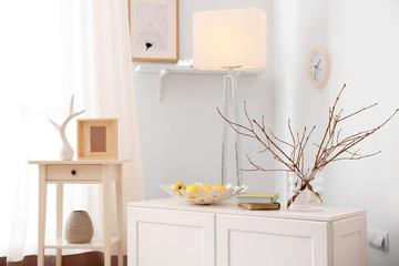 Room interior with elegant lamp