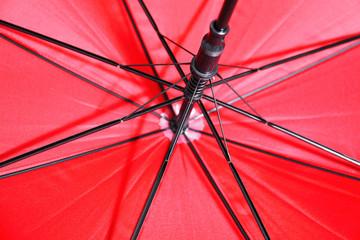 Opened red umbrella, closeup