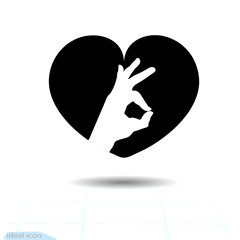 Heart vector black icon, Love symbol. Ok icon in heart. Valentines day sign, emblem, Flat style for graphic and web design, logo.