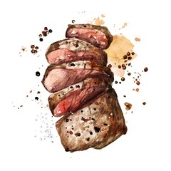 Roast meat. Watercolor Illustration.