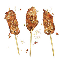 Chicken mini kebabs. Watercolor Illustration.