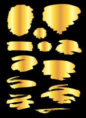 Golden paint strokes set