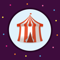 Circus carnival design with circus tent icon over blue circle and purple background, colorful design vector illustration