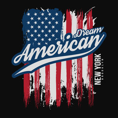 T-shirt graphic design with american flag and grunge texture. New York typography shirt design. Modern poster and t-shirt graphic design