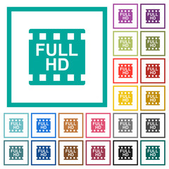 Full HD movie format flat color icons with quadrant frames