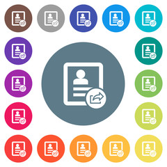 Export contact flat white icons on round color backgrounds